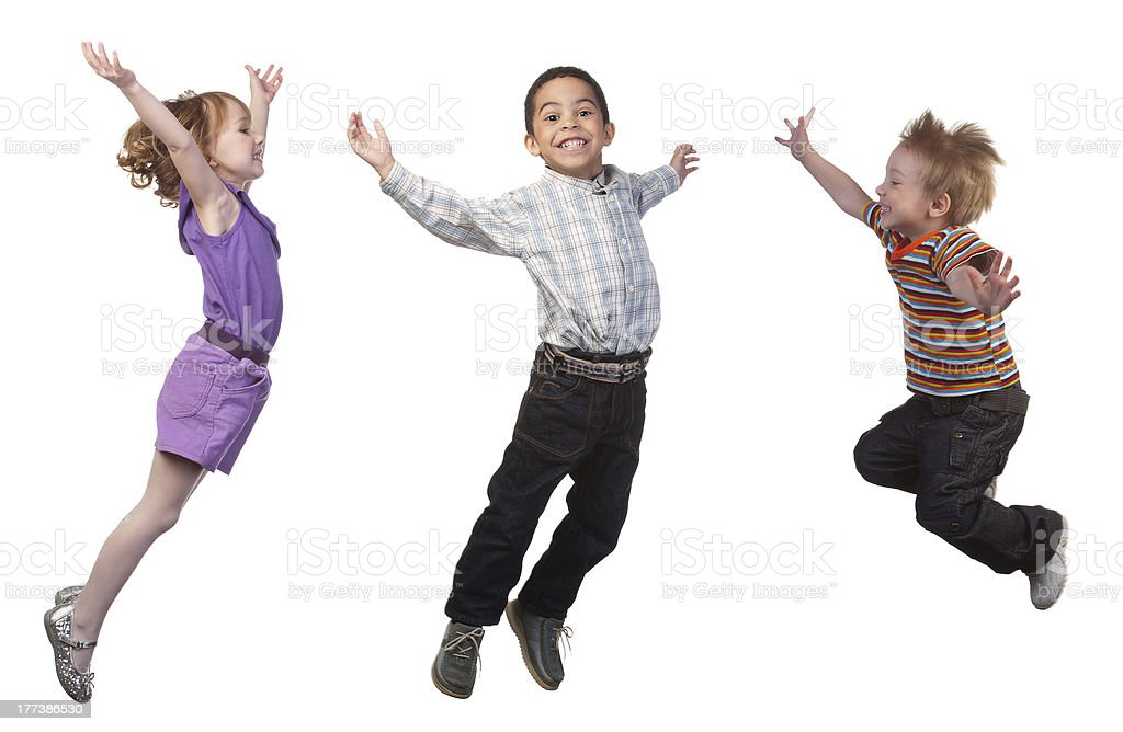Happy children jumping royalty-free stock photo