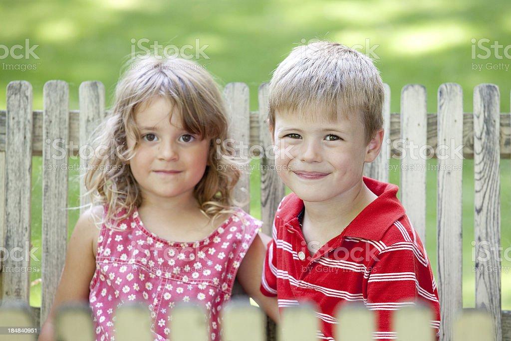 Happy Children on Swing royalty-free stock photo