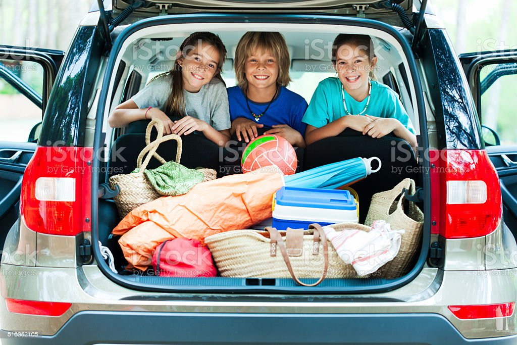 Happy children ready for vacation. stock photo