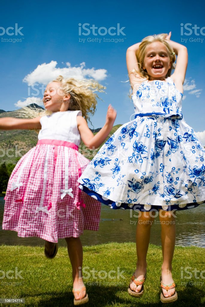 Happy Children Wearing Easter Dresses royalty-free stock photo