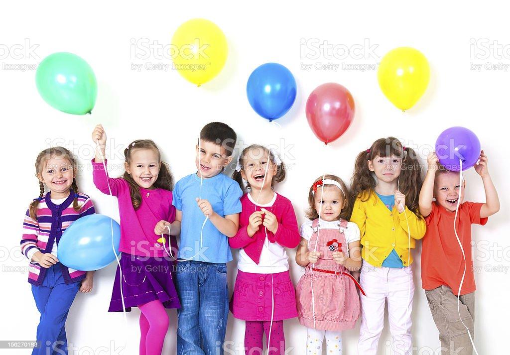 happy children with balloons stock photo