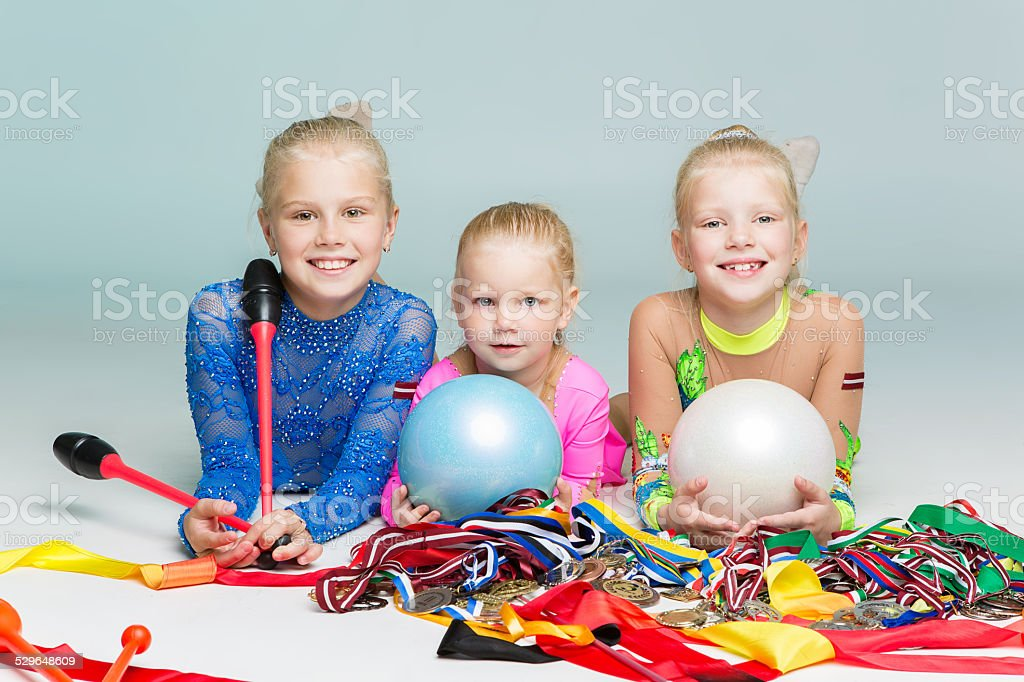 Happy children with medals stock photo
