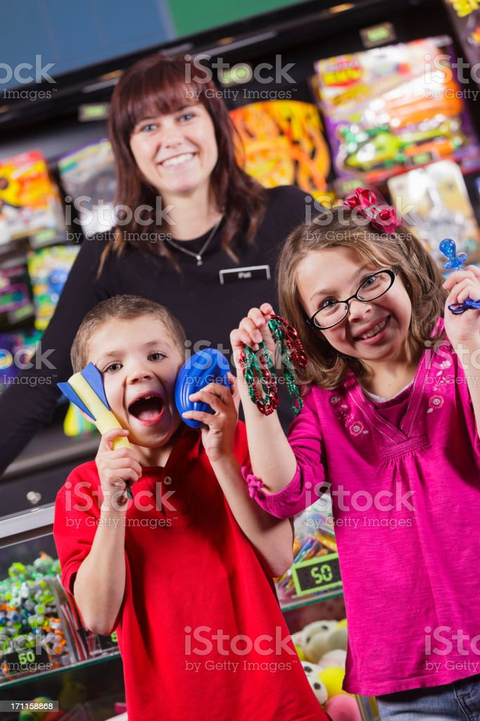 Happy Children with Prizes royalty-free stock photo