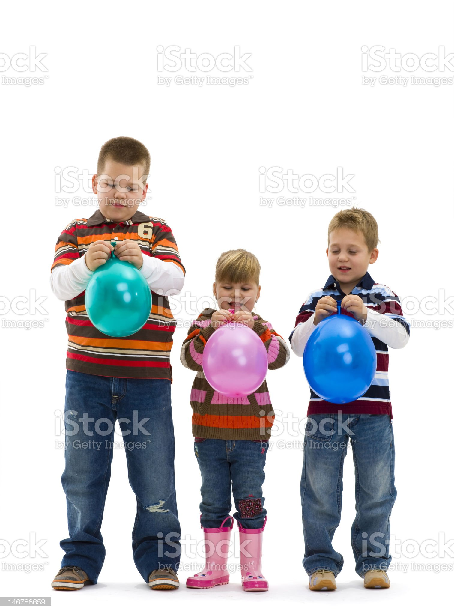 Happy children with toy balloon royalty-free stock photo