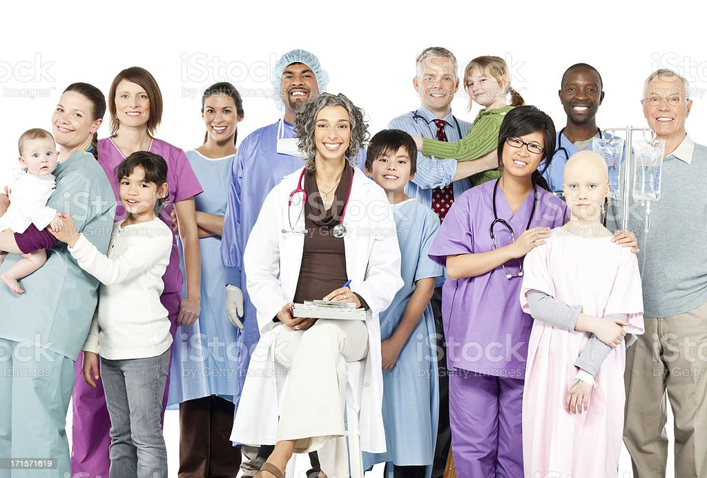Happy Children's Hospital with Diversity (Isolated) royalty-free stock photo