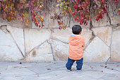 Happy Chinese baby boy standing in front of Boston Ivy