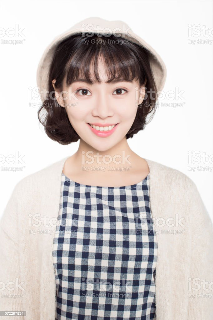 happy chinese girl with a happy smile to face the camera stock photo