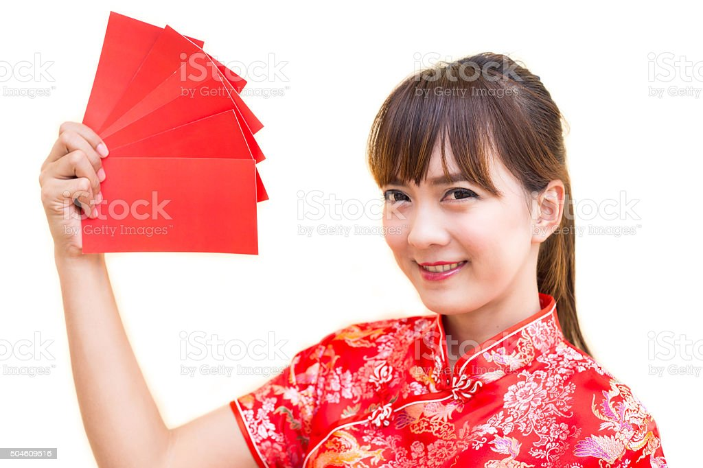 Happy chinese new year,Cute smiling Asian woman dress traditional stock photo