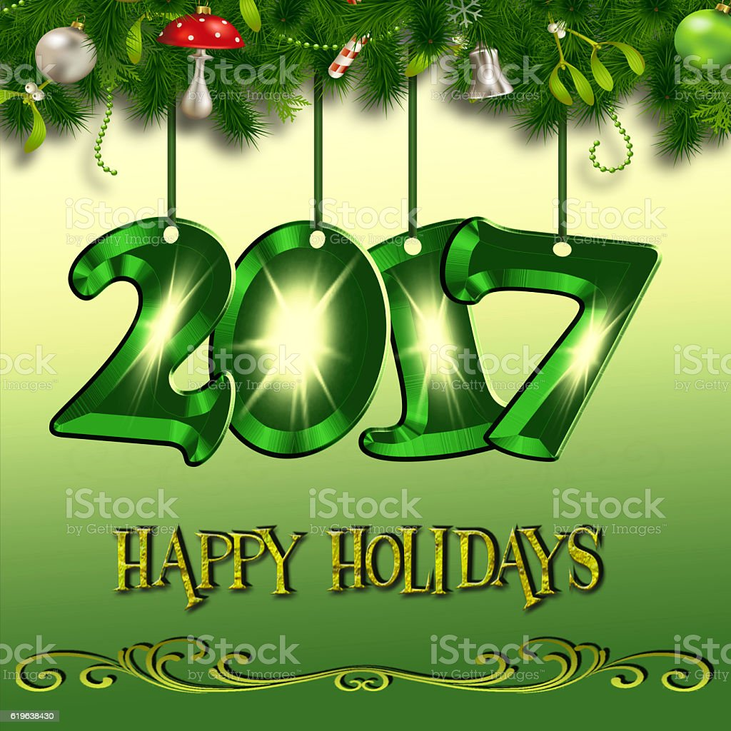 Happy Christmas and New Year 2017 vector art illustration