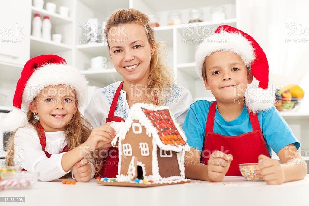 Happy christmas family in the kitchen royalty-free stock photo
