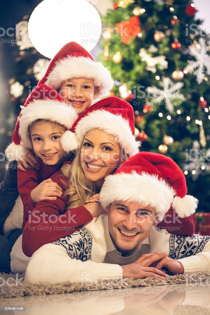 Happy Christmas family stock photo