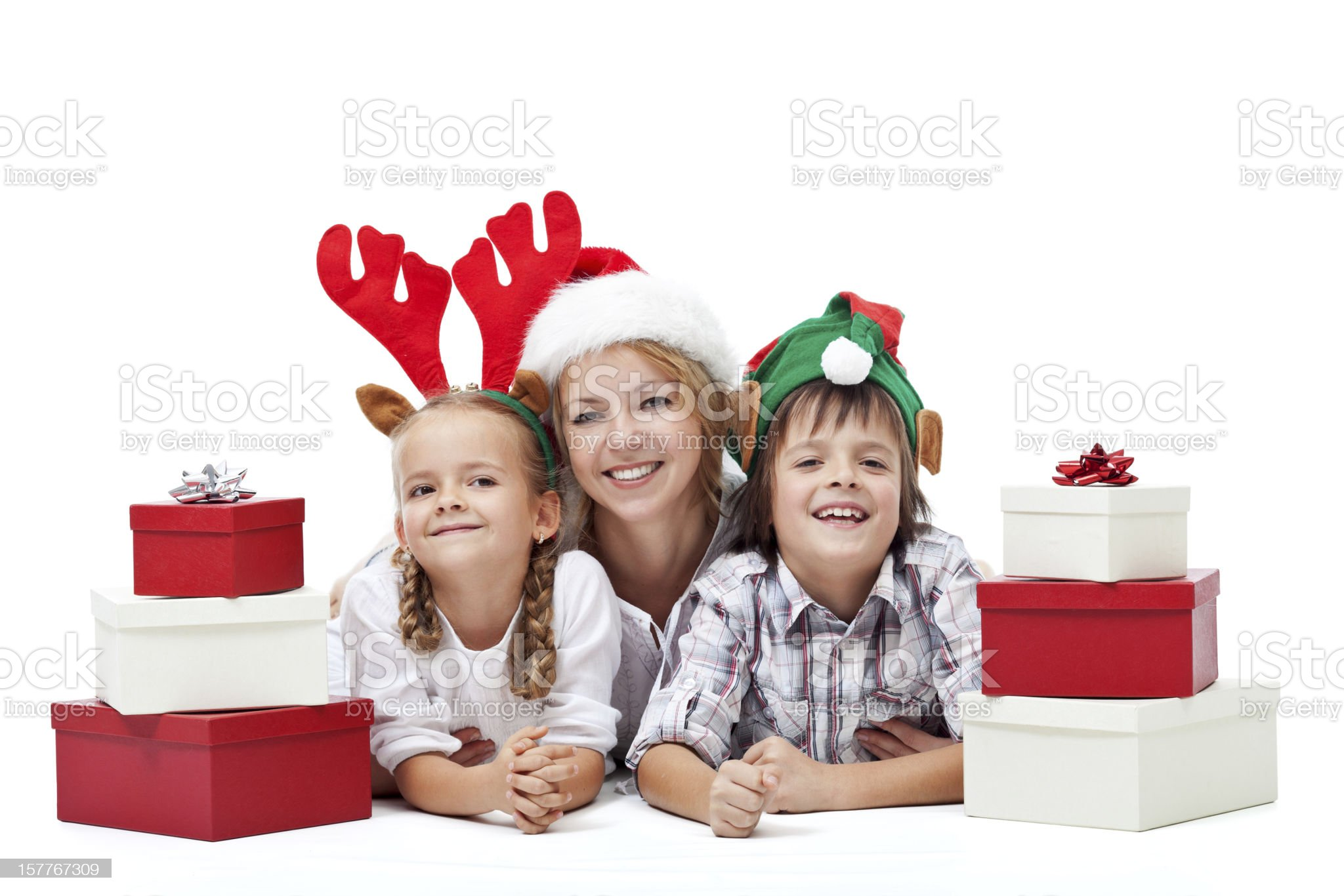 Happy christmas people with presents royalty-free stock photo