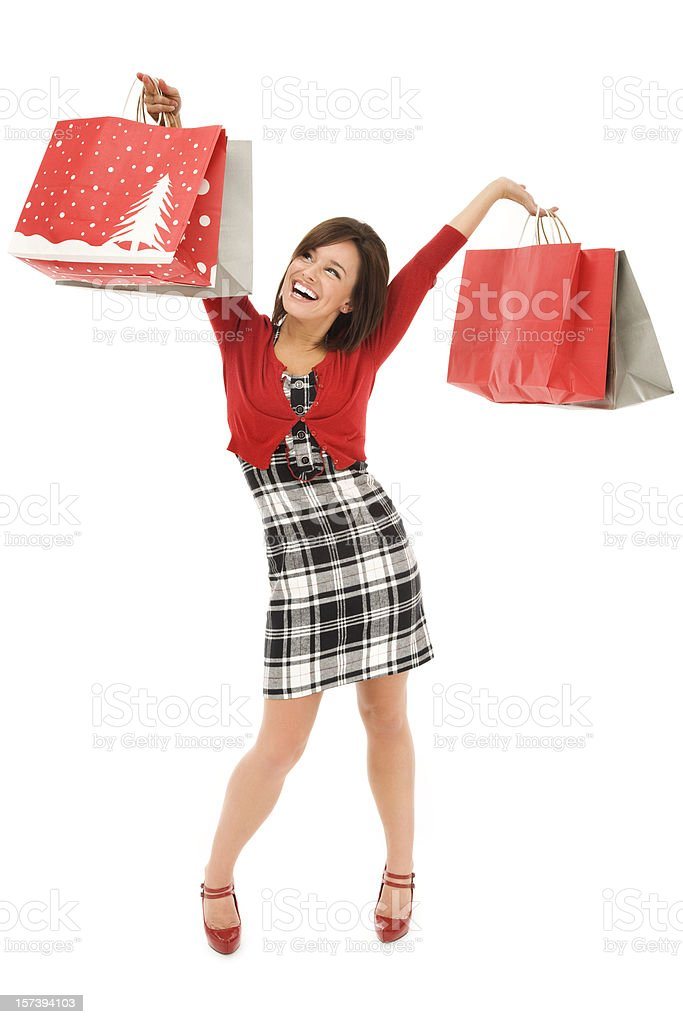 Happy Christmas Shopper royalty-free stock photo