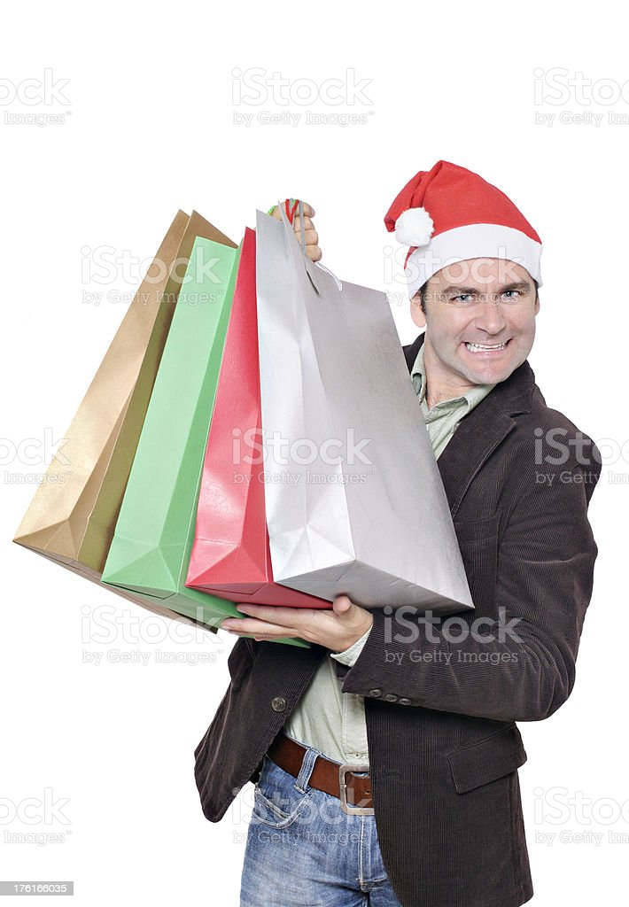Happy Christmas Shopper stock photo