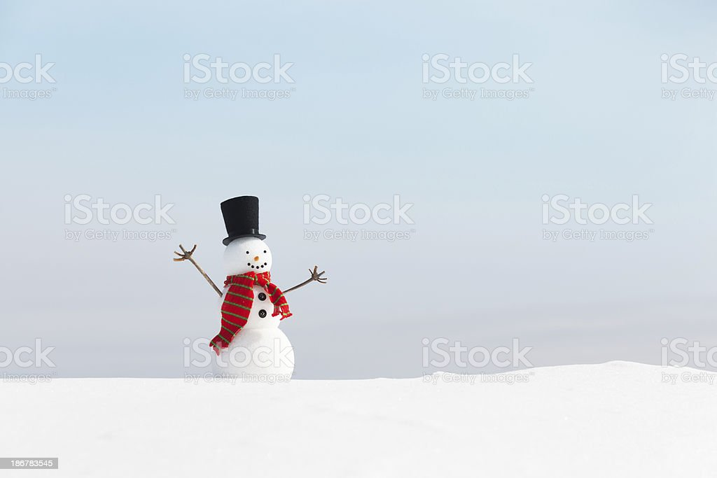 Happy Christmas Winter Snowman Horizontal with Copy Space royalty-free stock photo