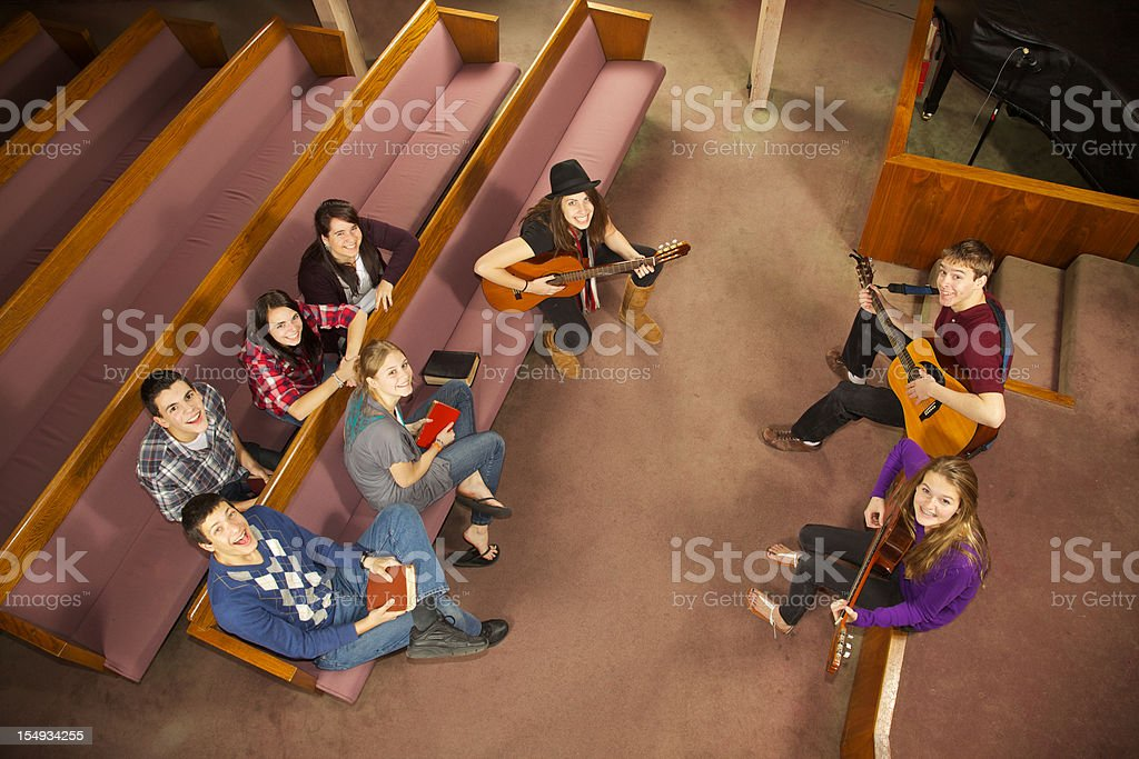 Happy Church Musical Youth Group stock photo