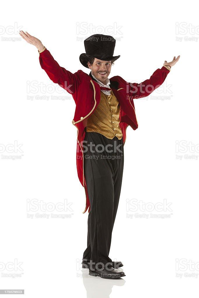 Happy circus ringmaster stock photo
