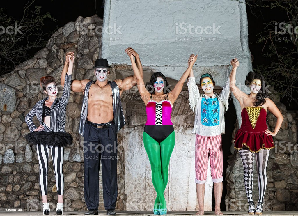 Happy Cirque Clowns on Stage stock photo