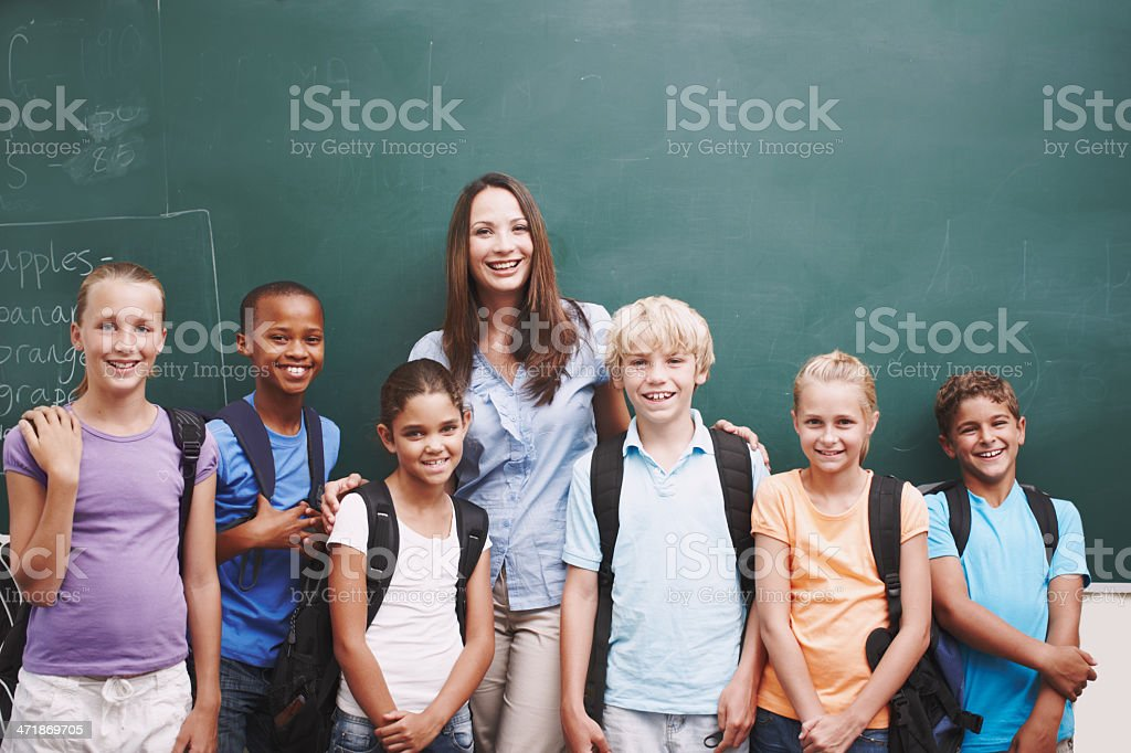 Happy classroom full of eager minds royalty-free stock photo