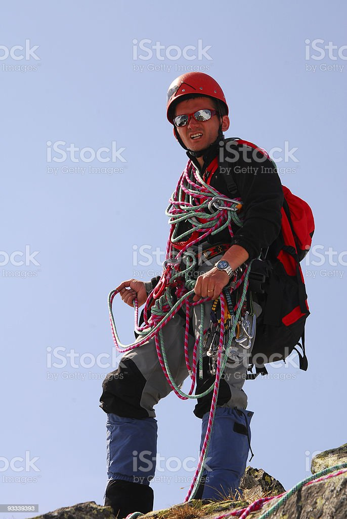 Happy climber stock photo
