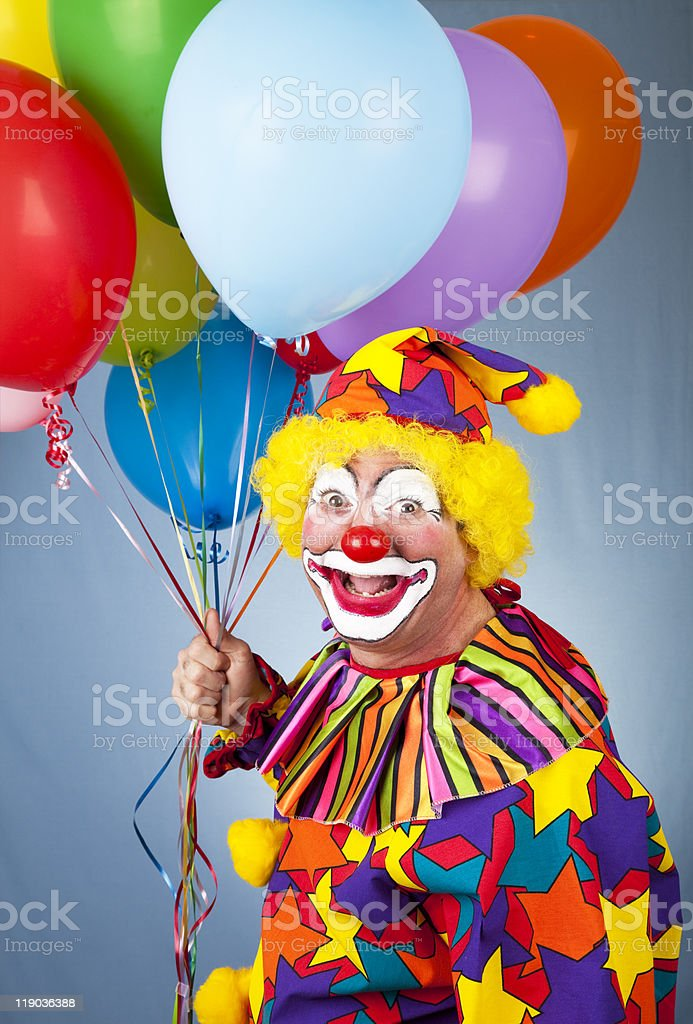 Happy Clown With Balloons royalty-free stock photo