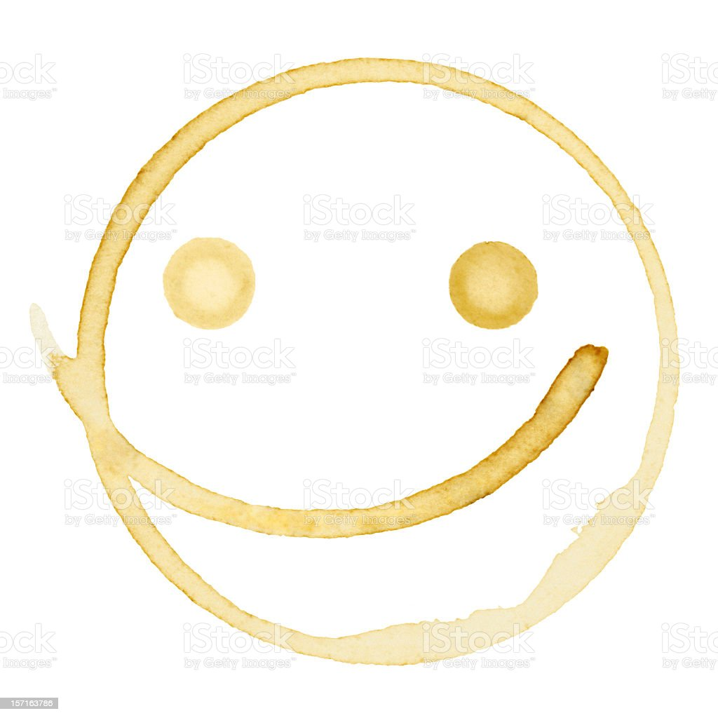 Happy Coffee Stain Isolated on a Pure White Background stock photo