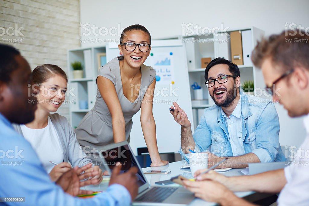 Happy colleagues stock photo