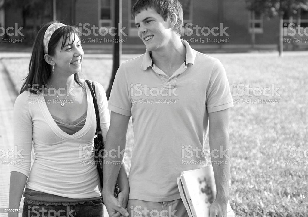 Happy College Couple stock photo