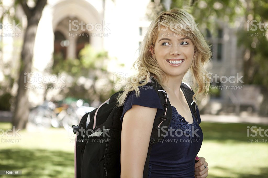 Happy College Girl stock photo