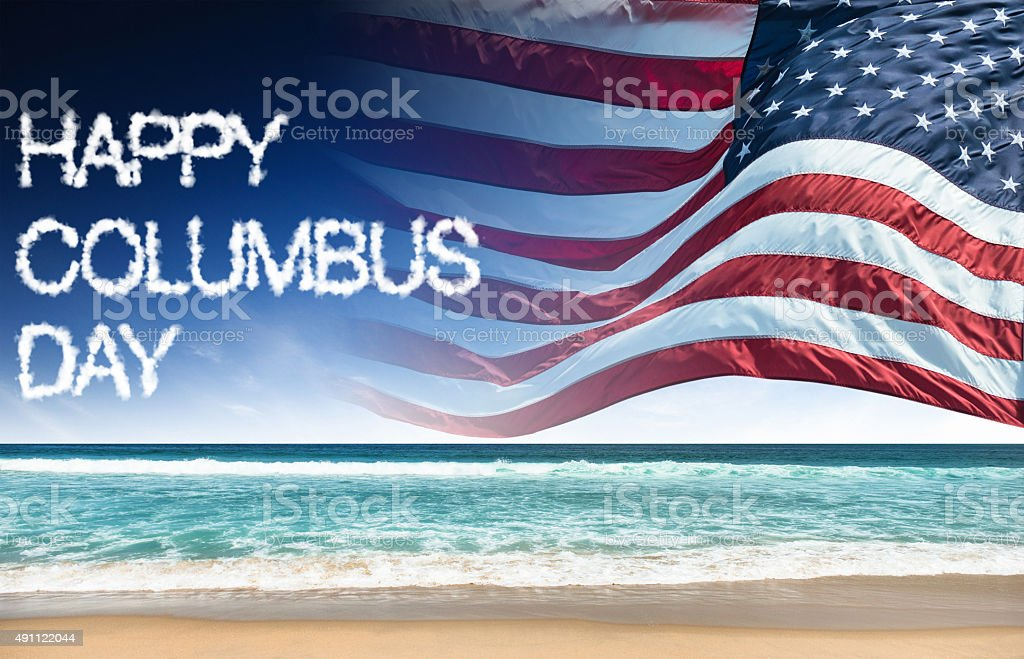 happy columbus day with us flag stock photo