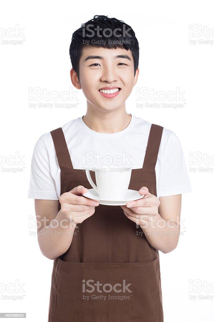 Happy confident waiter stock photo