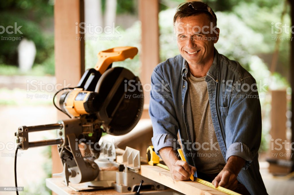 Happy construction worker. stock photo