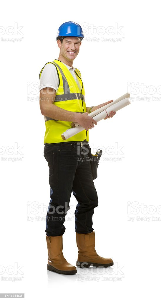 happy contractor holding plans royalty-free stock photo