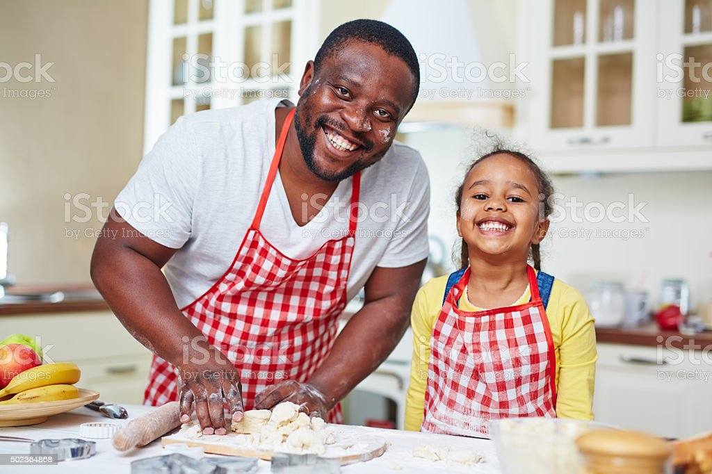 Happy cooking stock photo