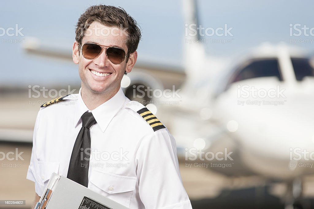 Happy Corporate Pilot Portrait stock photo