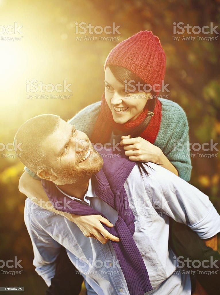 Happy couple at autumn royalty-free stock photo