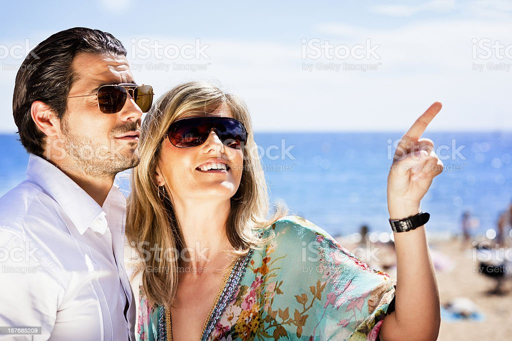 Happy couple at sea side royalty-free stock photo