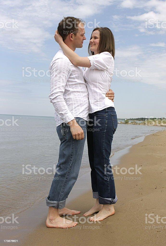 Happy Couple at the Beach royalty-free stock photo