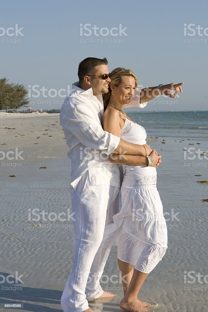 Happy couple at the ocean. royalty-free stock photo