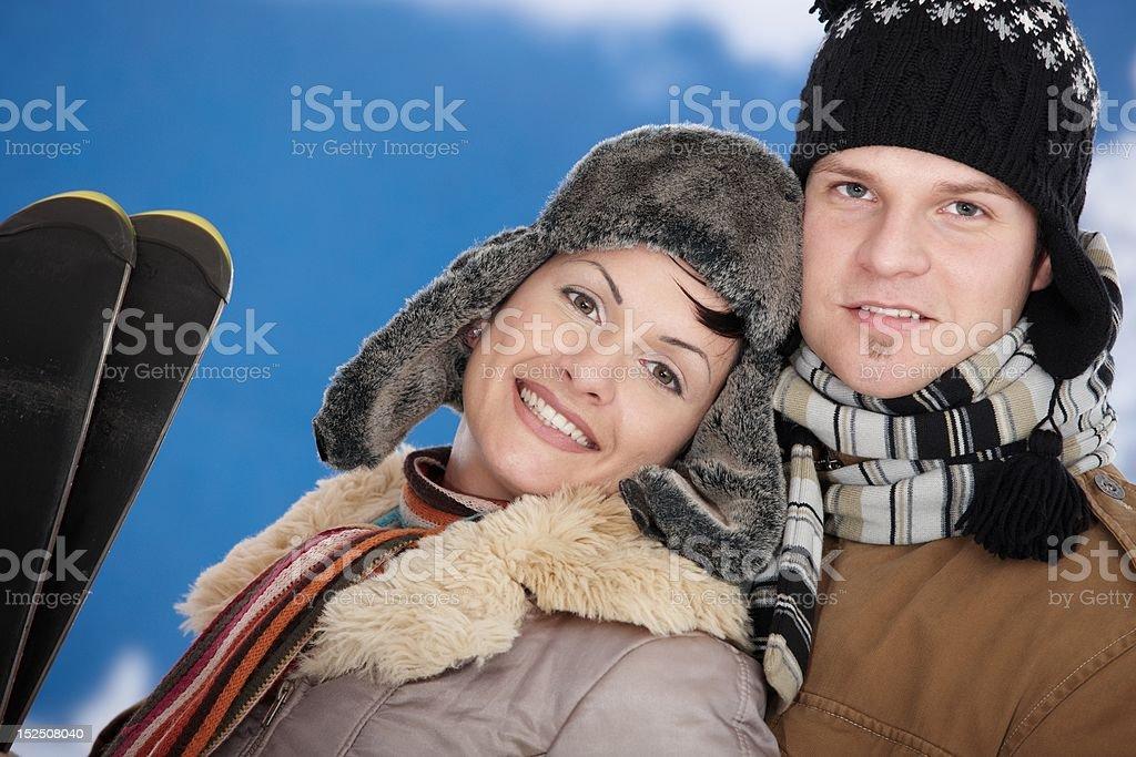 Happy couple at winter royalty-free stock photo