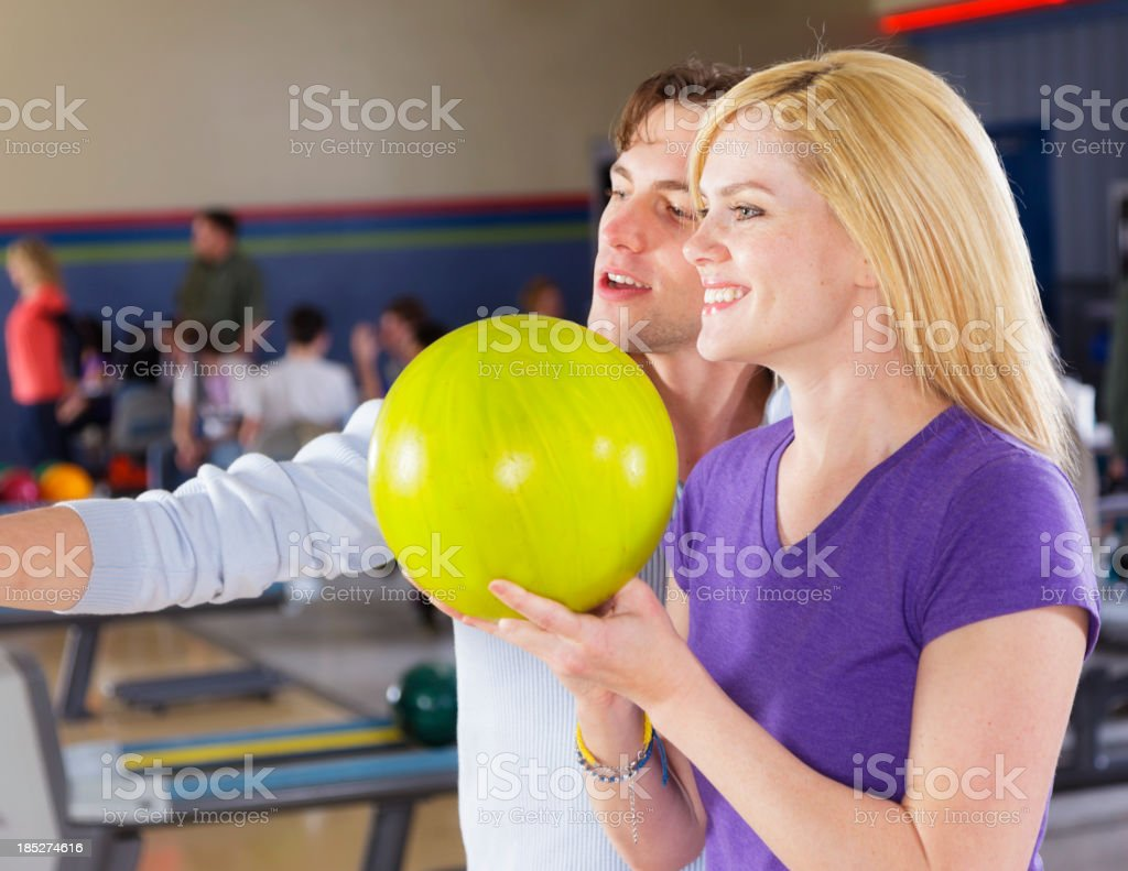 Happy Couple Bowling stock photo