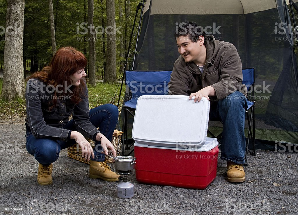 Happy Couple Camping royalty-free stock photo