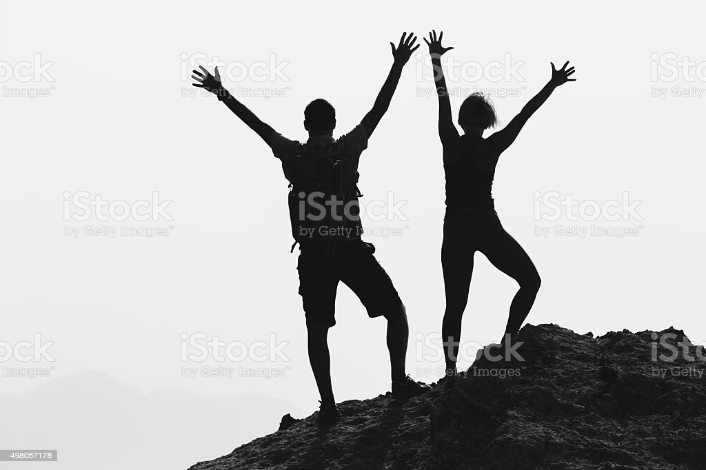 Happy couple celebrate reaching life goal and success stock photo