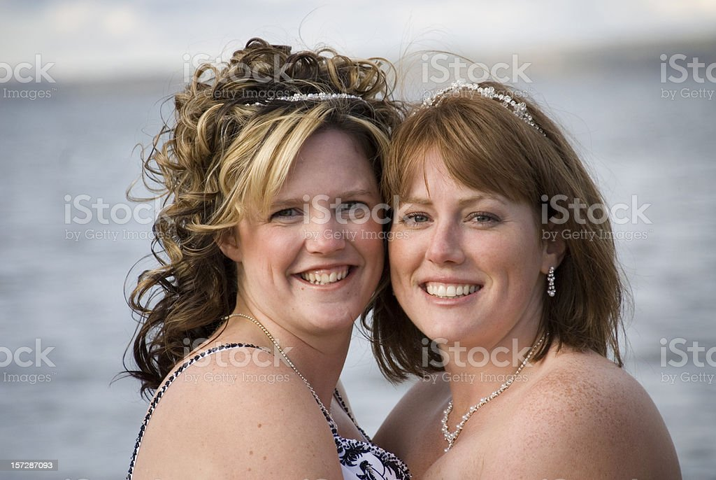 Happy couple celebrating their marriage stock photo