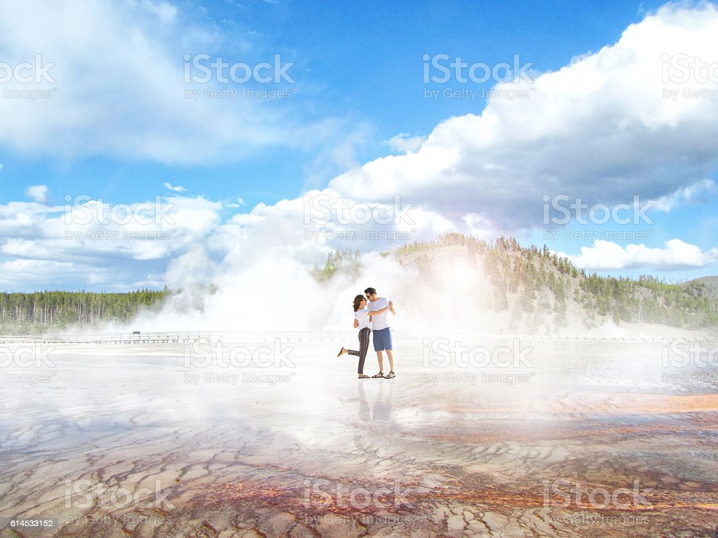 Happy couple dancing at Yellowstone State Park stock photo