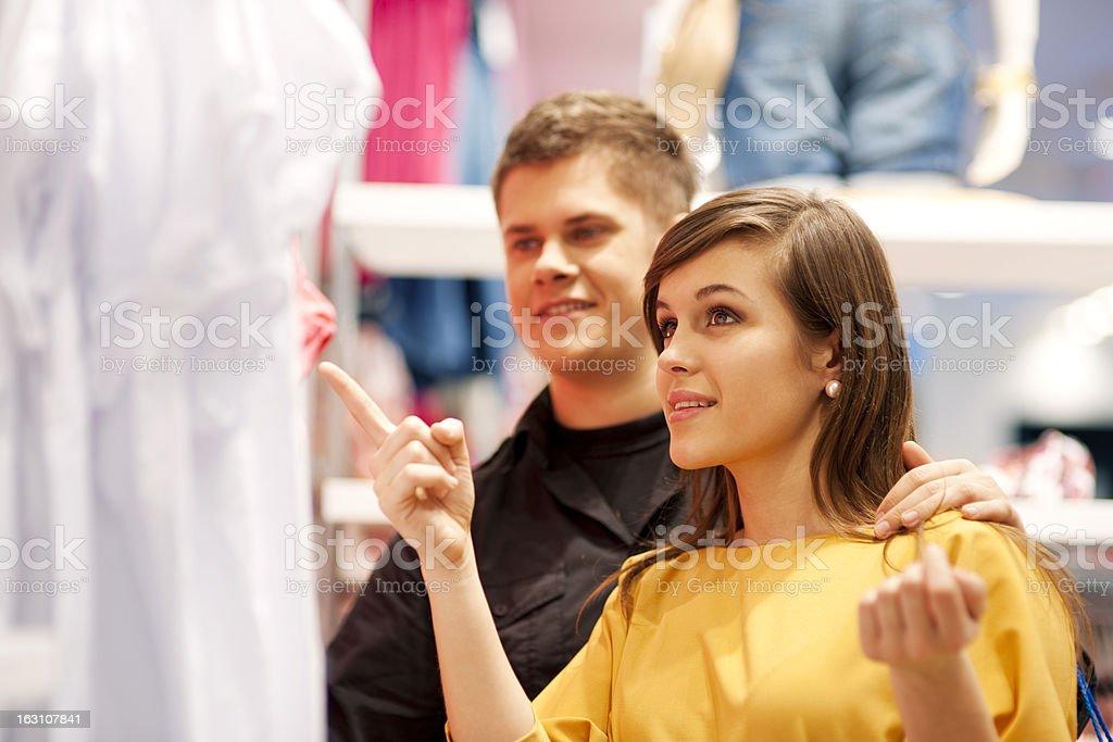 Happy couple doing shopping royalty-free stock photo