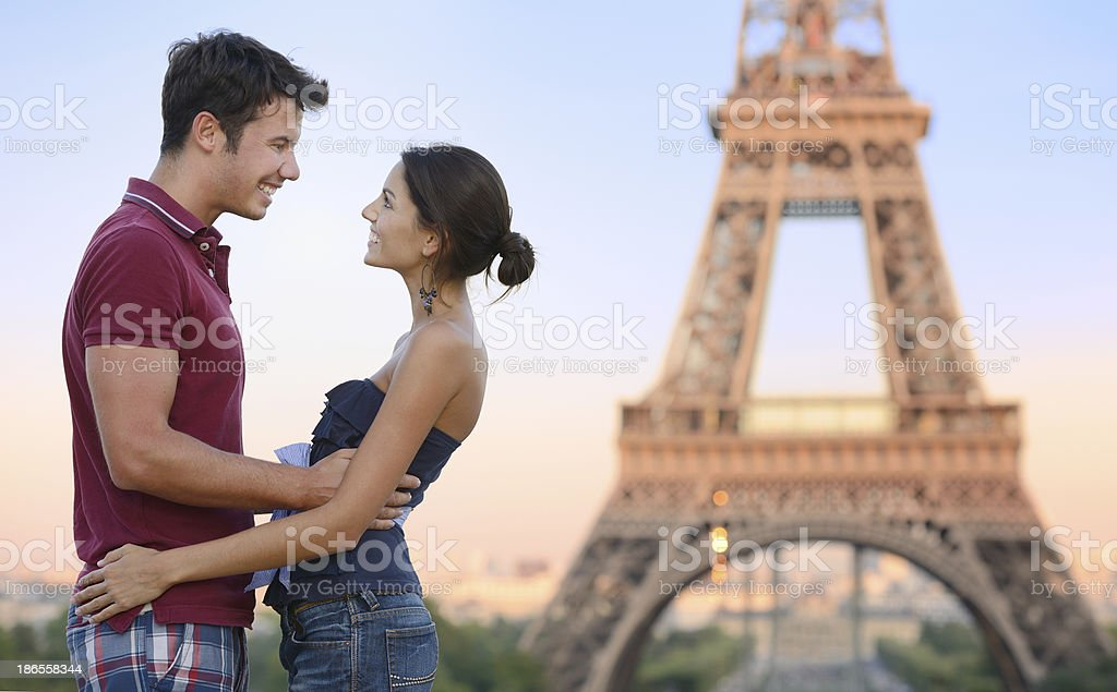 Happy Couple, Eiffel Tower, Paris royalty-free stock photo