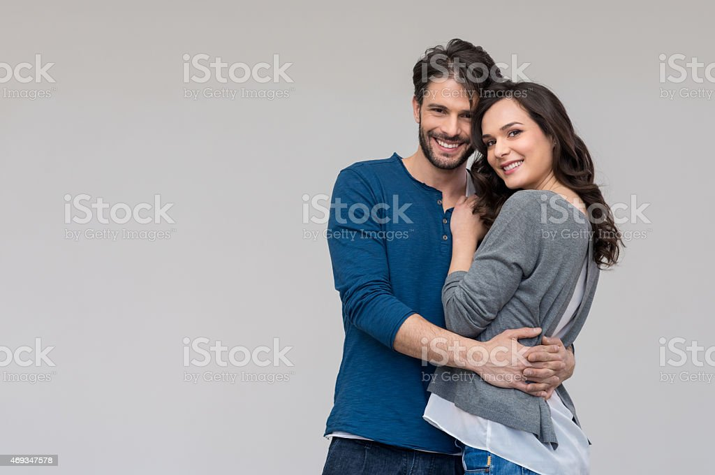 Happy couple embracing stock photo