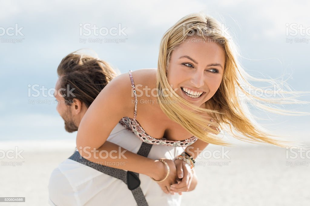 Happy couple enjoying stock photo