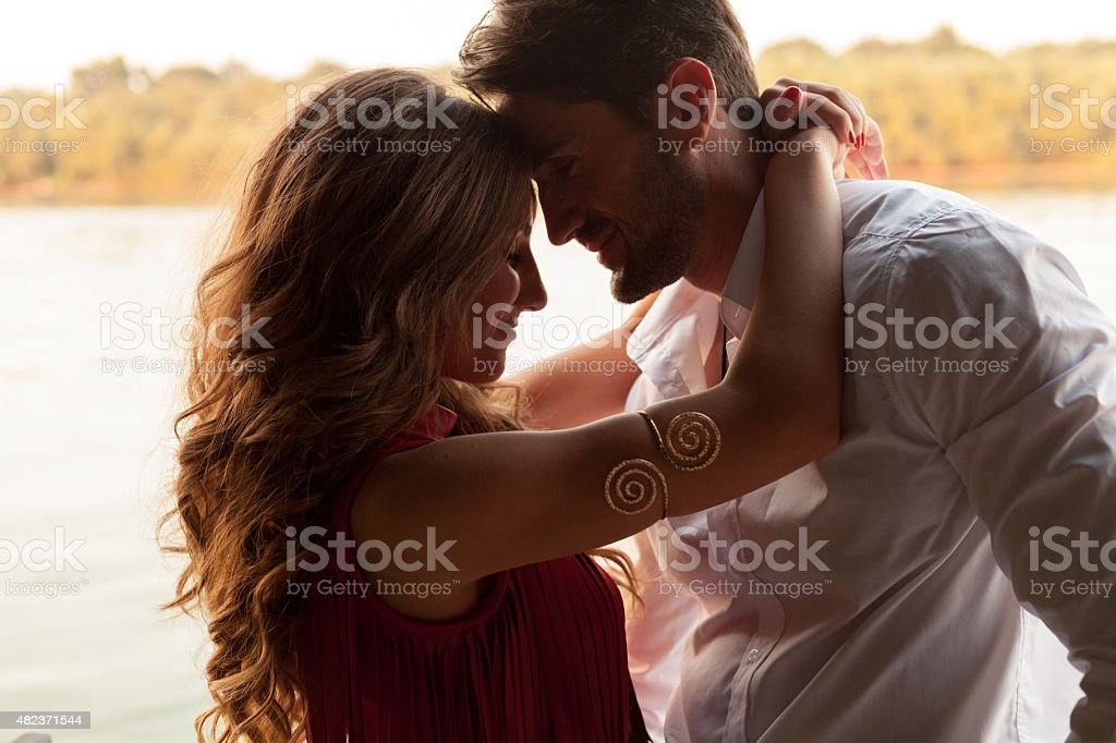 Happy couple face to face stock photo